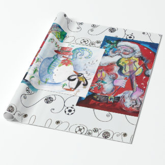 MUSICAL SANTA AND SNOWMEN CHRISTMAS PARTY WRAPPING PAPER