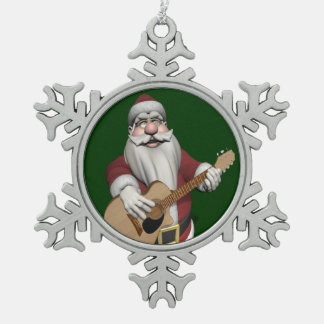 Musical Santa Claus Playing Christmas Songs Snowflake Pewter Christmas Ornament