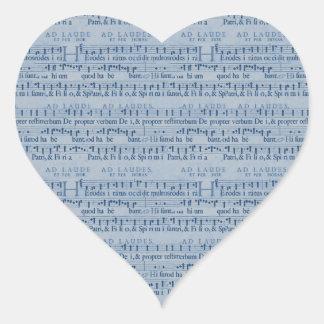 Musical Score Old Blue Paper Design Heart Sticker