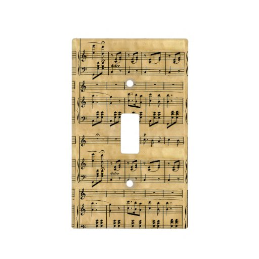 Musical Score Old Parchment Paper Design Switch Plate Cover