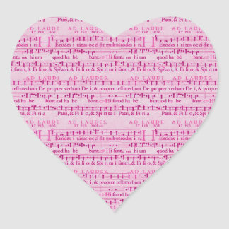 Musical Score Old Pink Paper Design Heart Sticker