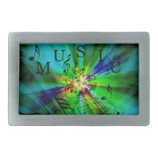 Musical Score on an Abstract Background Belt Buckles