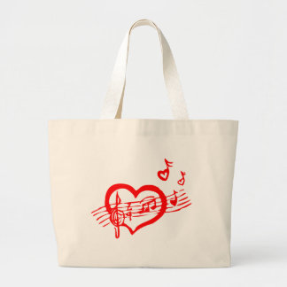 Musical Singing Red Heart Large Tote Bag