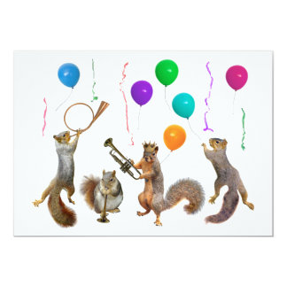 Musical Squirrels Party Invitation