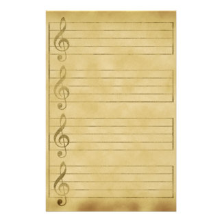 Musical Staff Treble Clef Parchment Design Lined Stationery