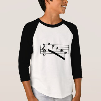 Musical Staff Treble Clef Peace Notes Black Design T-Shirt