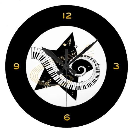 Musical Star Golden Notes Clocks