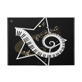 Musical Star Golden Notes Cover For iPad Mini