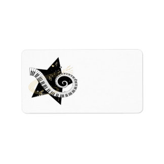 Musical Star golden notes Personalized Address Labels