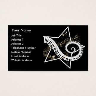 Musical Star golden notes Music Business Card
