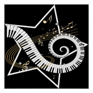 Musical Star golden notes Posters