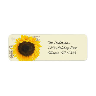 Musical Sunflower Return Address Labels