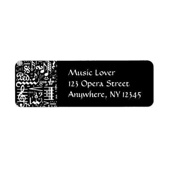Musical Symbols Black Label Return Address Label