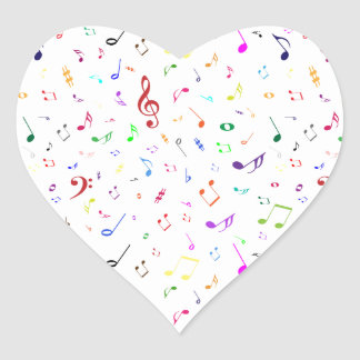 Musical Symbols in Rainbow Colors Heart Sticker