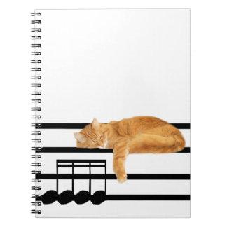 Musical tabby kitty cat spiral notebooks