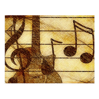 Musical Theme with Guitar Postcard