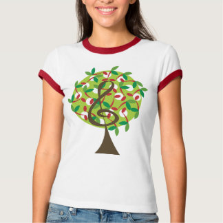 Musical Treble Cherry Notes Tree Whimsical Nature T-Shirt