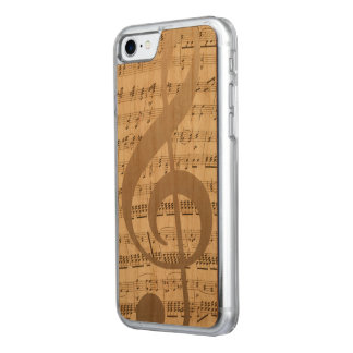 Musical Treble Clef Music Notes Background Carved iPhone 8/7 Case