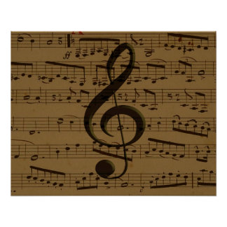 Musical Treble Clef sheet music Perfect Poster