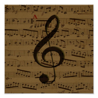 Musical Treble Clef sheet music Poster