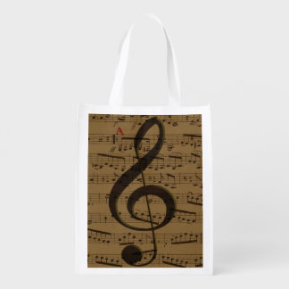 Musical Treble Clef sheet music Market Totes