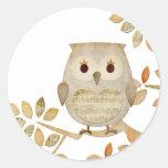 Musical Tree Owl Classic Round Sticker