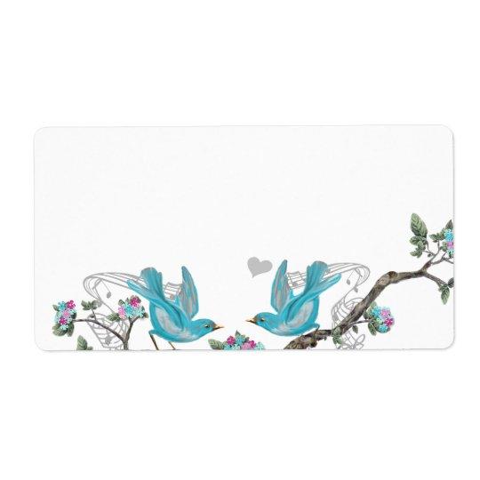 Musical Vintage Aqua Birds Grey Branch Labels