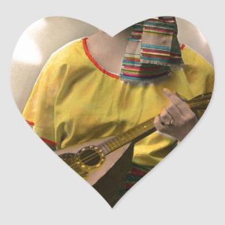 Musical Vintage Gypsy in Vibrant Color Heart Sticker