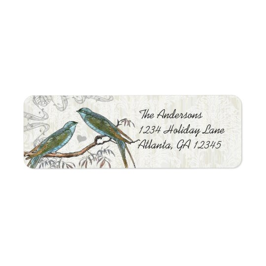 Musical Wood Texture Vintage Birds Labels