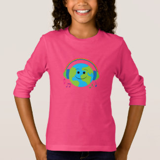 Musical World with Rainbow Headphones and Notes T-Shirt