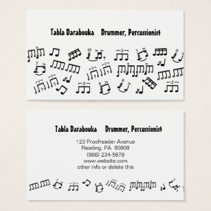 Drummer business cards business card printing zazzle ca musician business cards percussion drummer notes colourmoves Image collections