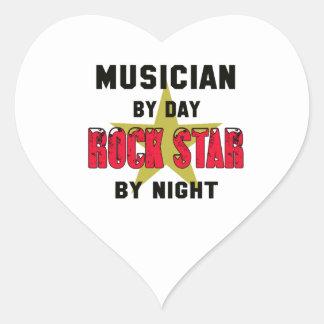 Musician by Day rockstar by night Heart Sticker
