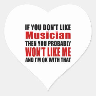 Musician Don't Like Designs Heart Sticker