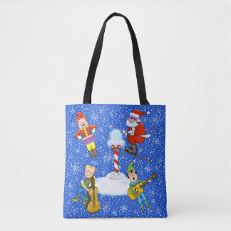 Musician Elves with Santa Christmas Tote Bag