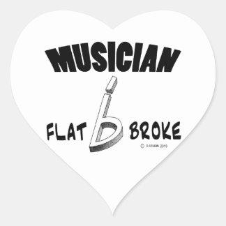 Musician - Flat Broke Heart Sticker