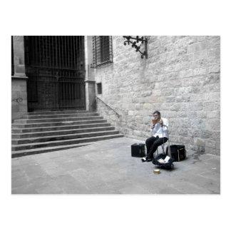 Musician in Barcelona Postcard