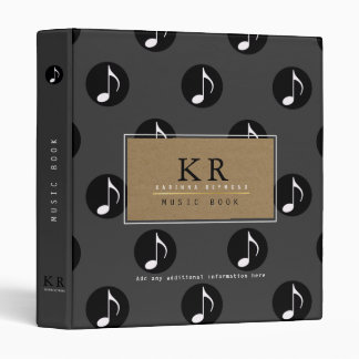 musician monogram with musical notes 3 ring binders
