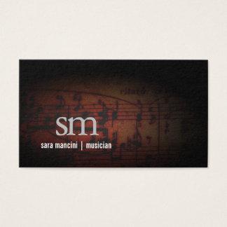 Musician Music Notes Grunge Monogram Music Business Card