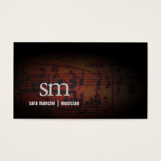 Musician Music Notes Grunge Monogram Music Business Card