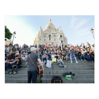 Musician Outside Sacre Coeur Paris Postcard
