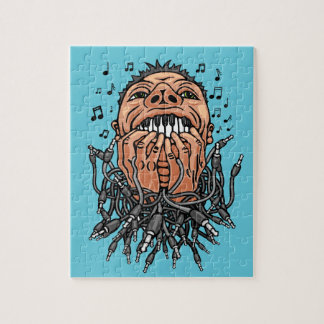 musician plays on his teeth like on keyboard jigsaw puzzle