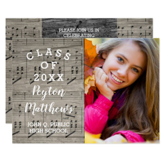 Musician Rustic Photo Graduation Card