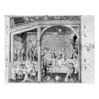 Musicians entertaining at a banquet postcard
