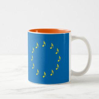 Musicians for European Union semiquaver EU flag Two-Tone Coffee Mug