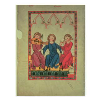 Musicians, from the Manasse Codex, a collection of Postcard