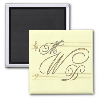 Musicians in love wedding monogram logo magnet