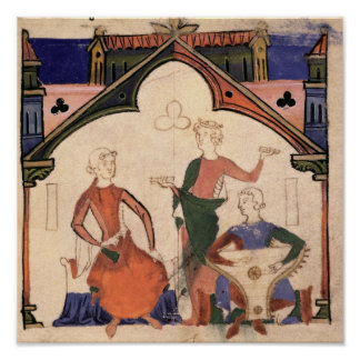 Musicians playing castanets and a psaltery poster