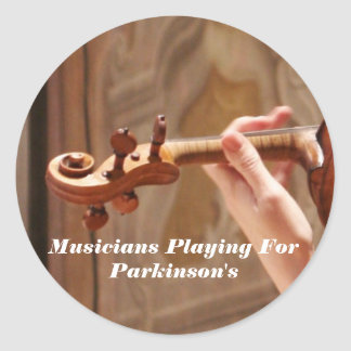 Musicians Playing For Parkinson's Classic Round Sticker