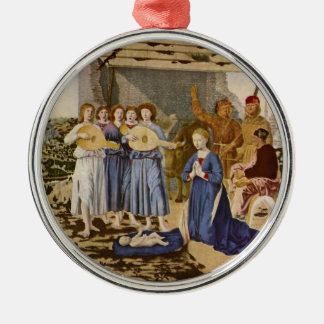 Musicians Worshipping Christ by Geburt Christi Silver-Colored Round Ornament