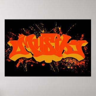 Musik orange yellow splatter poster